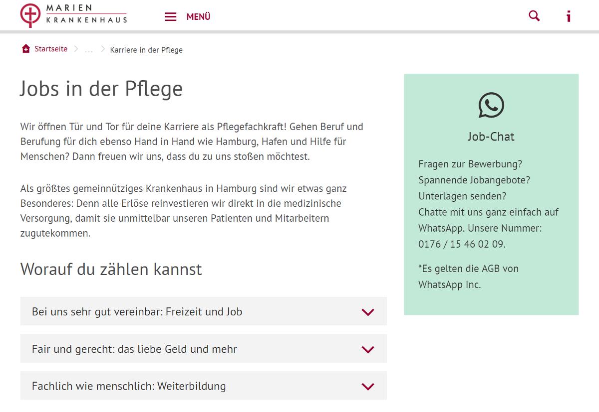Kath. Marienkrankenhaus mit Job-Chat per WhatsApp
