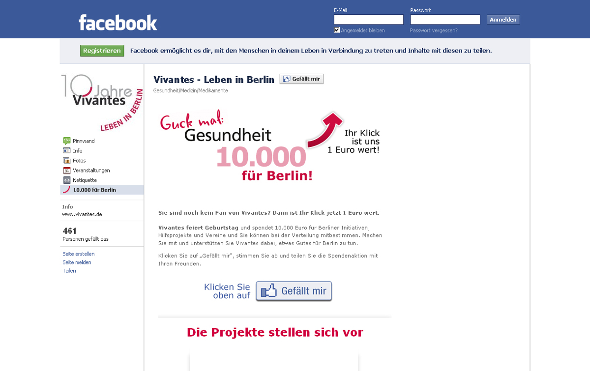 "Facebook-Spendenaktion ""10.000 für Berlin"""