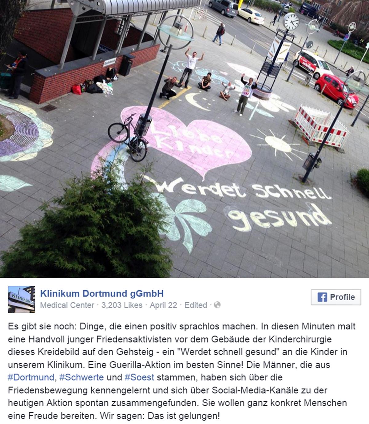 Facebook-Post des Klinikums Dortmund