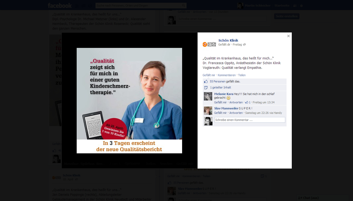 Facebook-Post zum neuen Qualitätsbericht der Schön Klinik