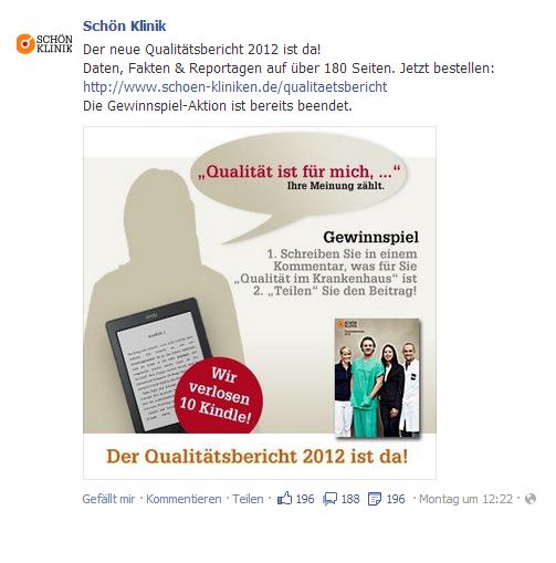 """Facebook-Post zum Gewinnspiel """"Qualität ist für mich, …"""" der Schön Klinik"""