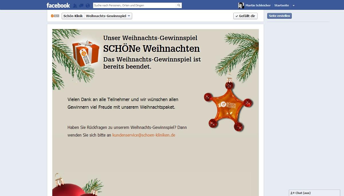"""Weihnachts-Gewinnspiel """"SCHÖNe Weihnachten"""" der Schön Klinik"""