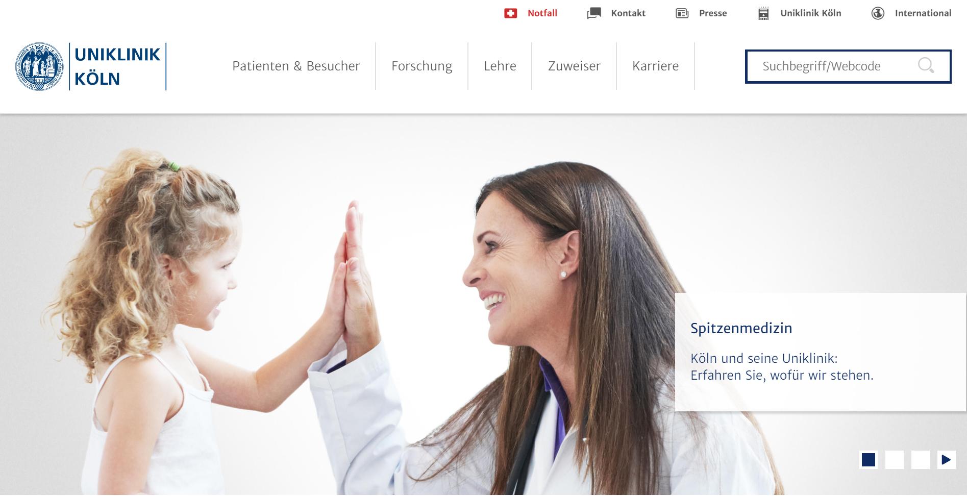 Neue Website der Uniklinik Köln