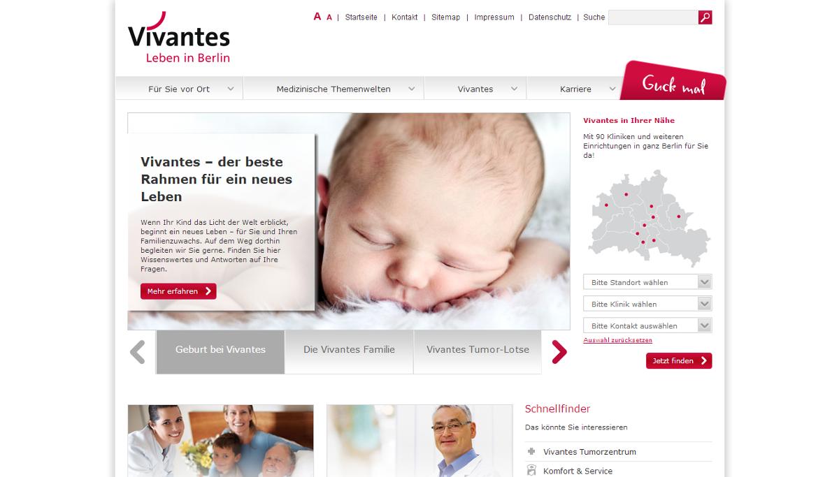 Neue Startseite von Vivantes