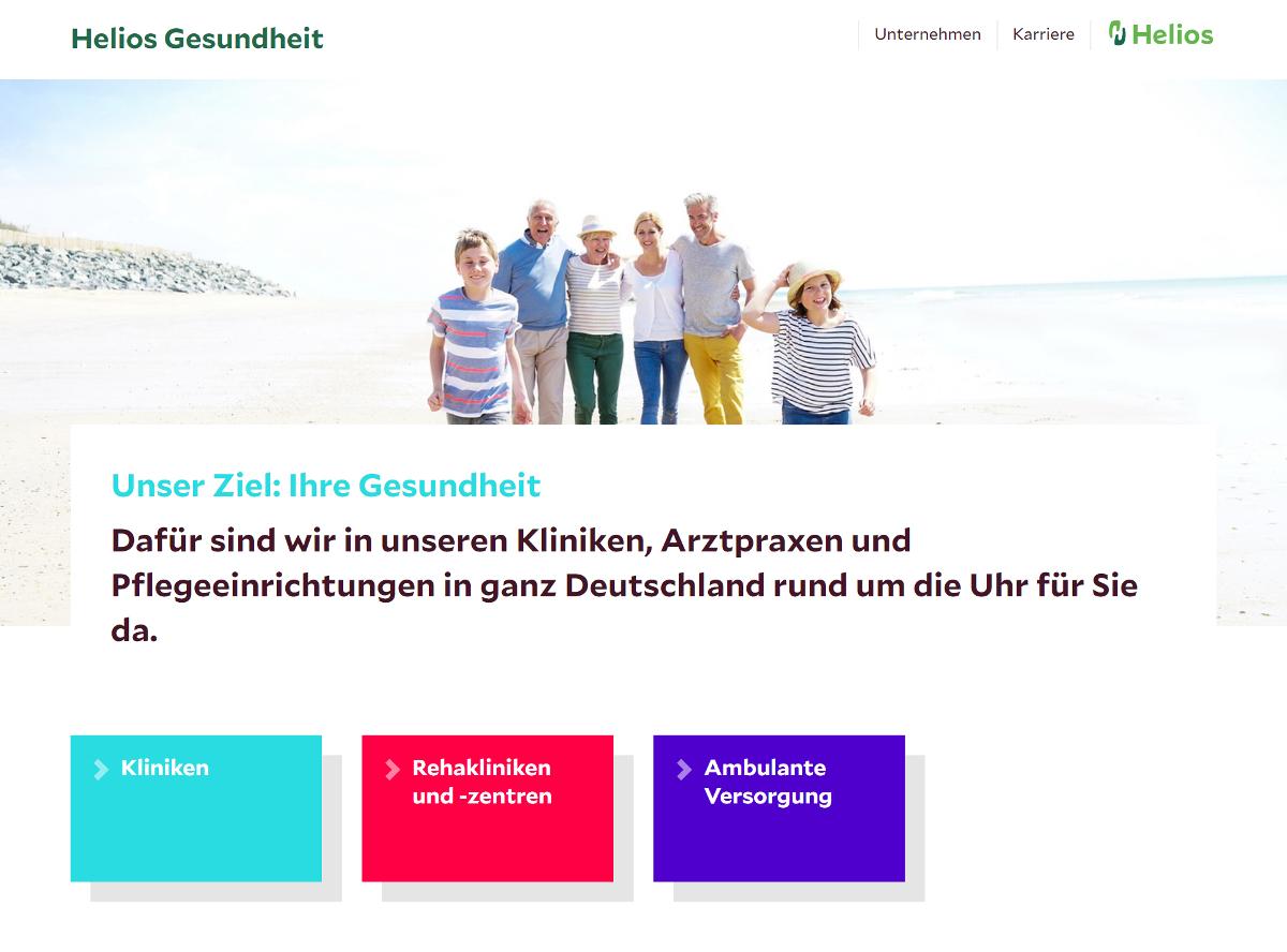 Neue Unternehmenswebsite der Helios Kliniken